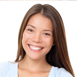 Smiling brown-haired Asian model