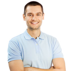 Smiling male model wearing light blue polo shirt