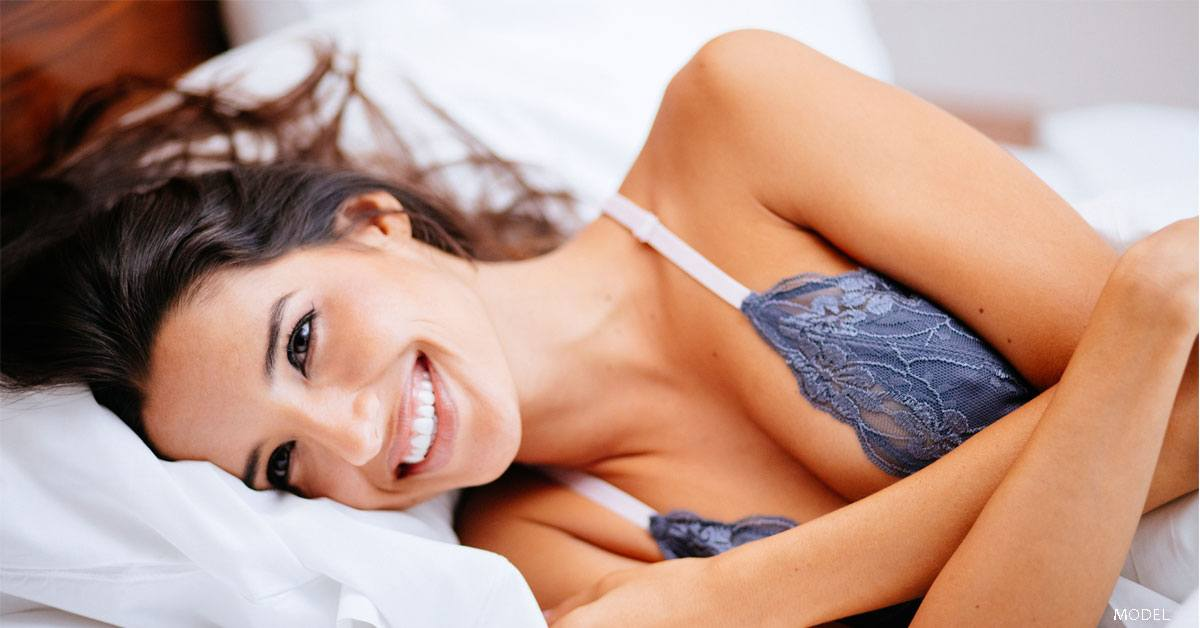 Woman considering breast augmentation
